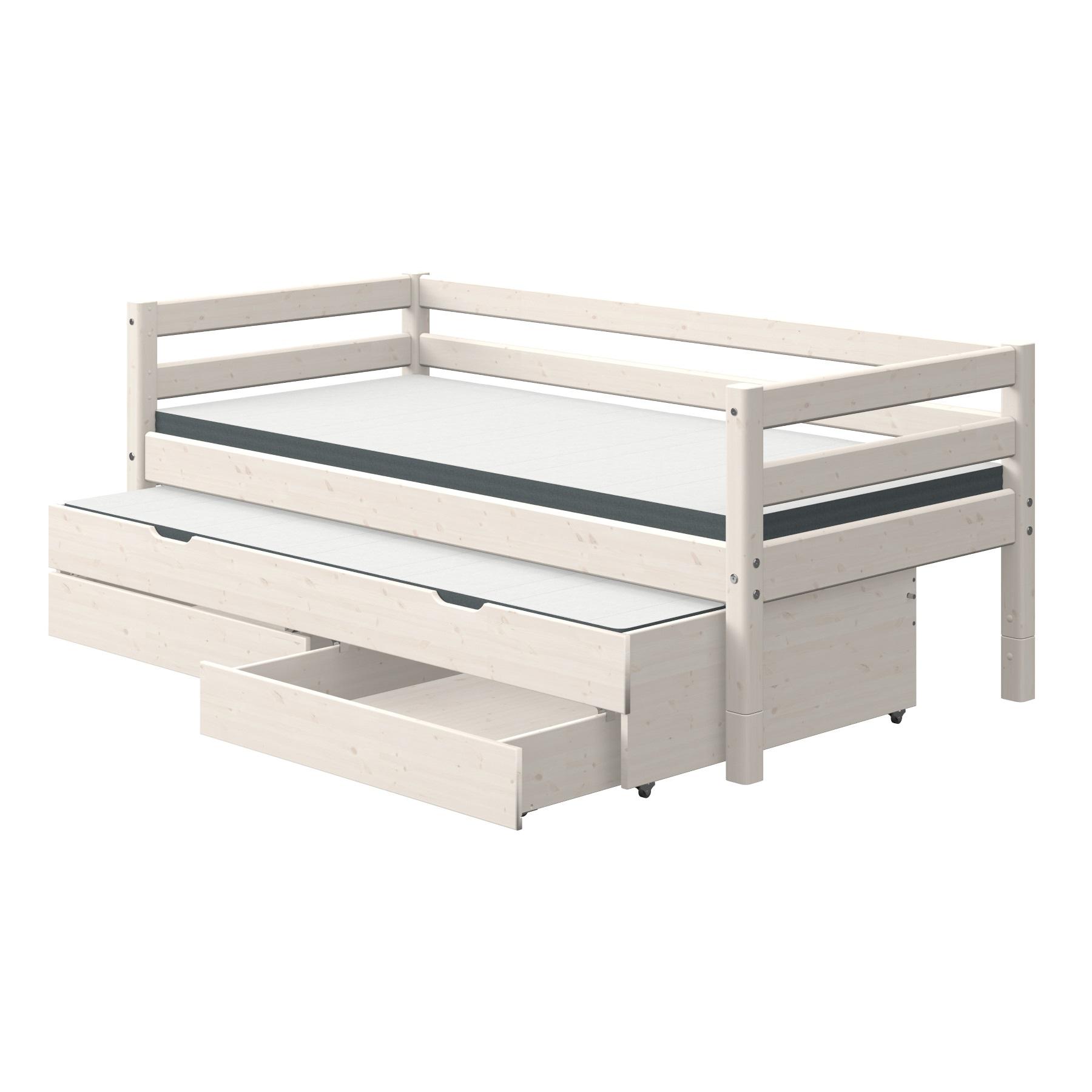 Säng vit 90 x 200 cm sänglådor utdragssäng, FLEXA CLASSIC