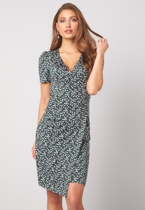 Happy Holly Simone ss puff dress Dusty green / Offwhite 36/38