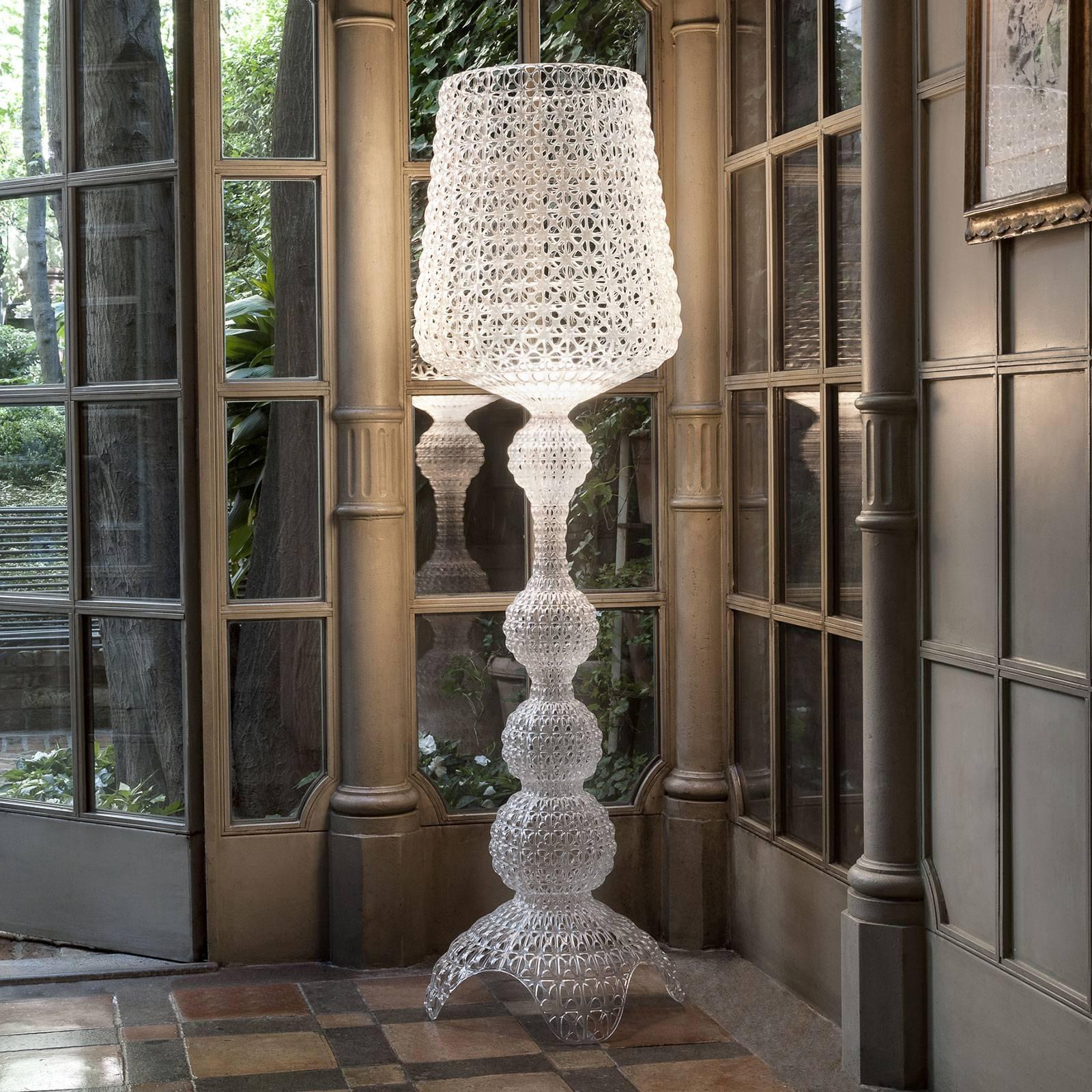 Designer gulvlampe Kabuki med LED-lys, transparent