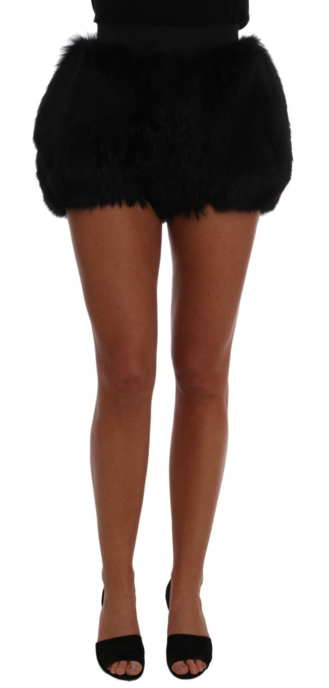 Dolce & Gabbana Women's Lamb Fox Fur Mini Trouser Black SKI1097 - IT40|S