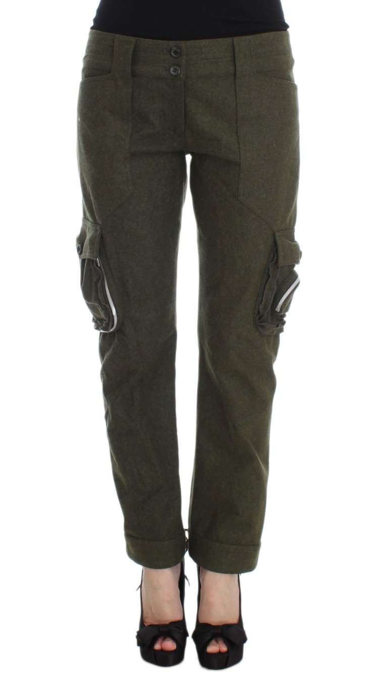 Ermanno Scervino Women's Loose Fit Cargo Trouser Green SIG30296 - IT40|S