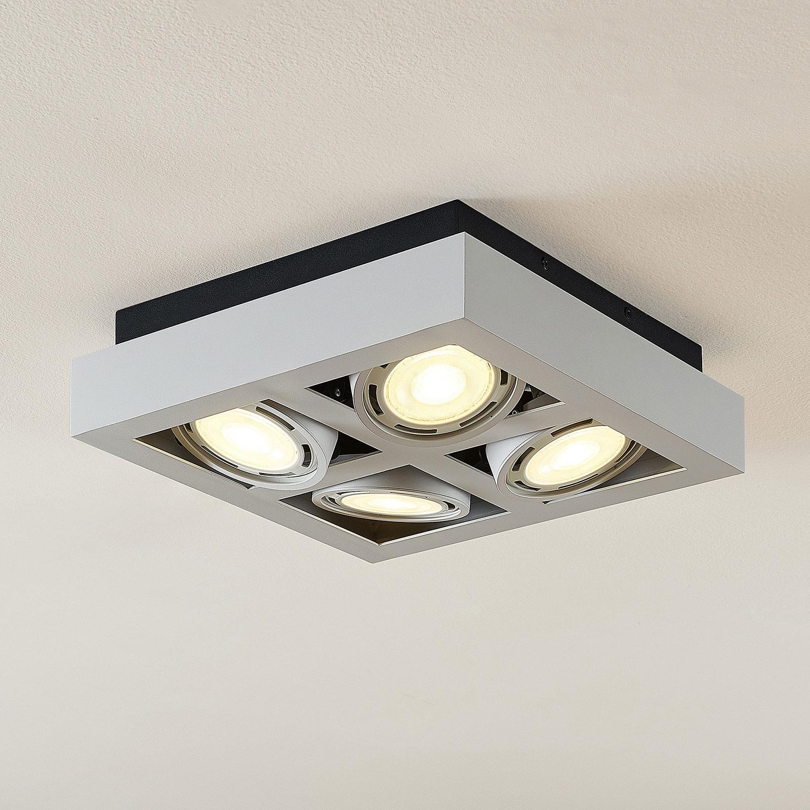 LED-kattokohdevalo Ronka, 4-lampp. neliö valkoinen