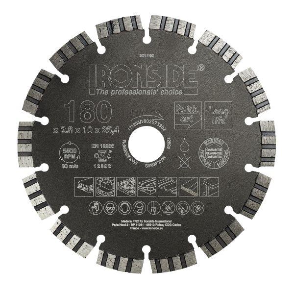 Ironside 201180 Diamantkappskive universal, 180 x 25,4 x 2,6 mm