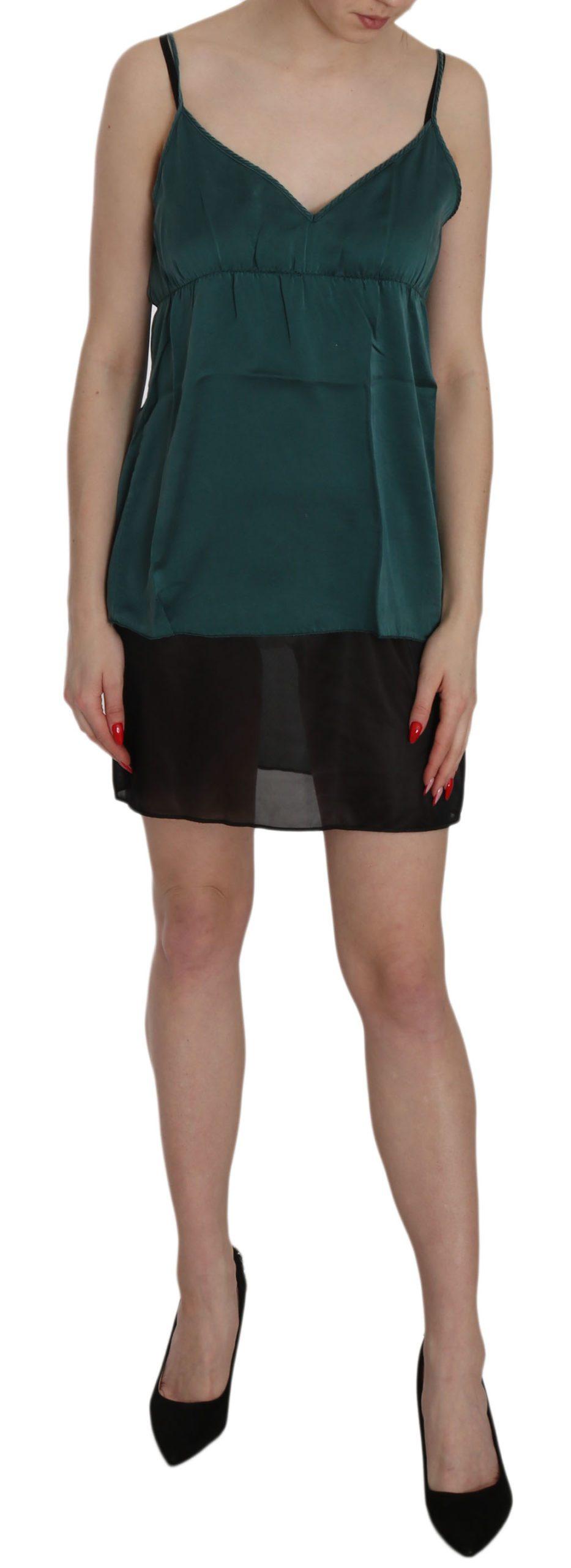 PINK MEMORIES Women's Silk Spaghetti Strap Shift Mini Dress Green TSH3471 - IT40 S