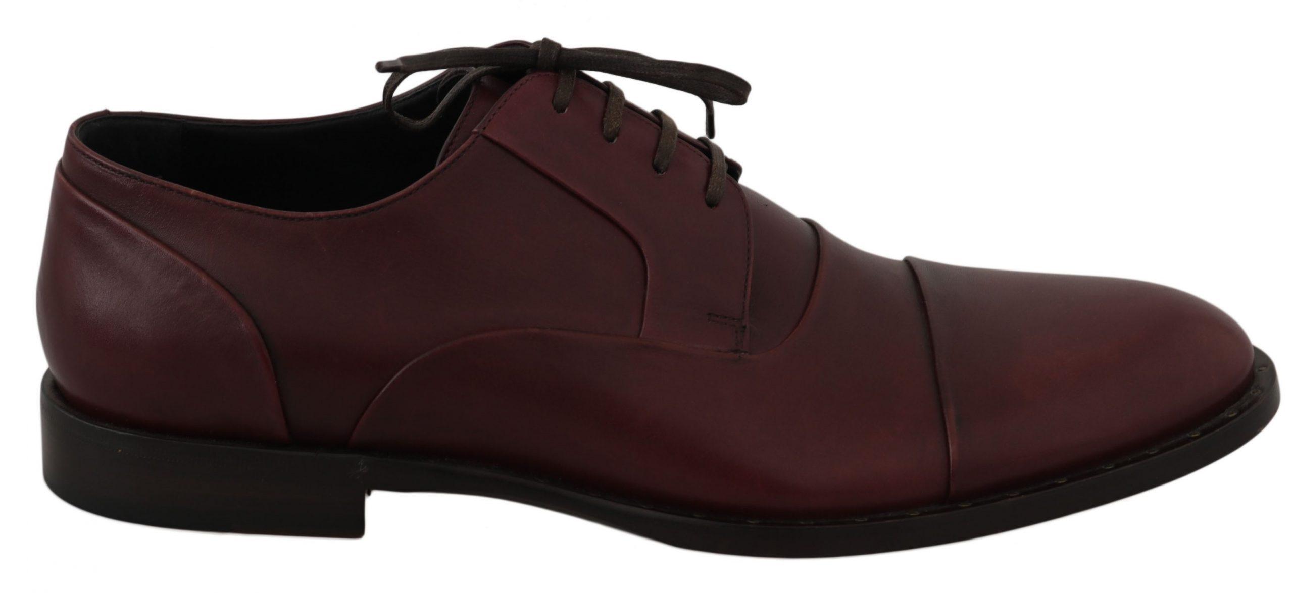 Dolce & Gabbana Men's Leather Formal Oxford Shoe Bordeaux MV2318 - EU39/US6