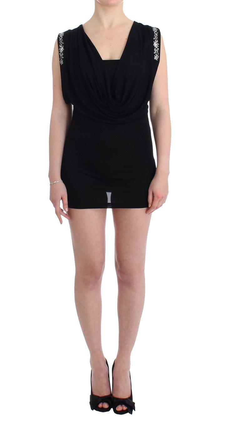 Roccobarocco Women's Embellished Jersey Mini Sheath Short Dress Black SIG11565 - IT46 XL