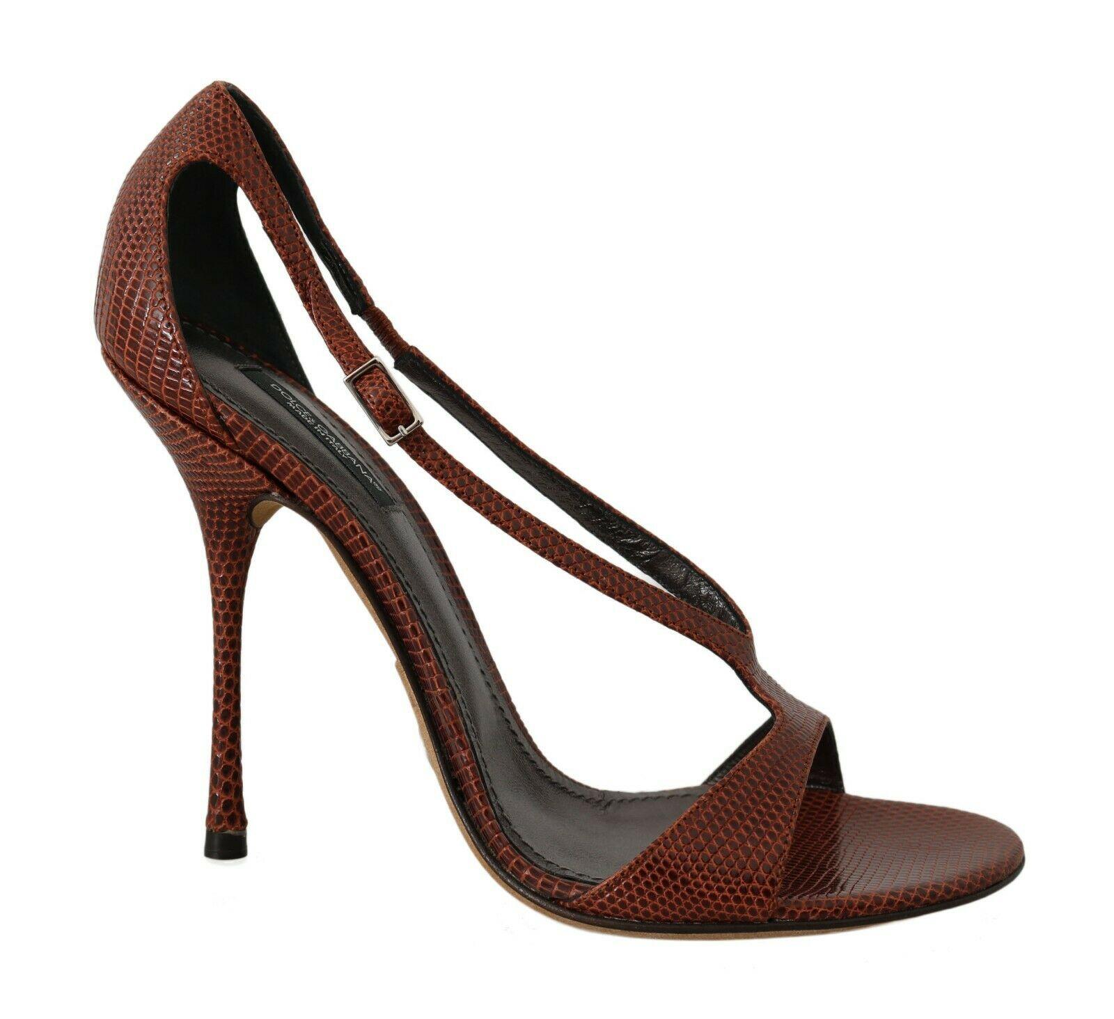 Dolce & Gabbana Women's Leather Lizard Iguana Pumps Brown LA5741 - EU39/US8.5