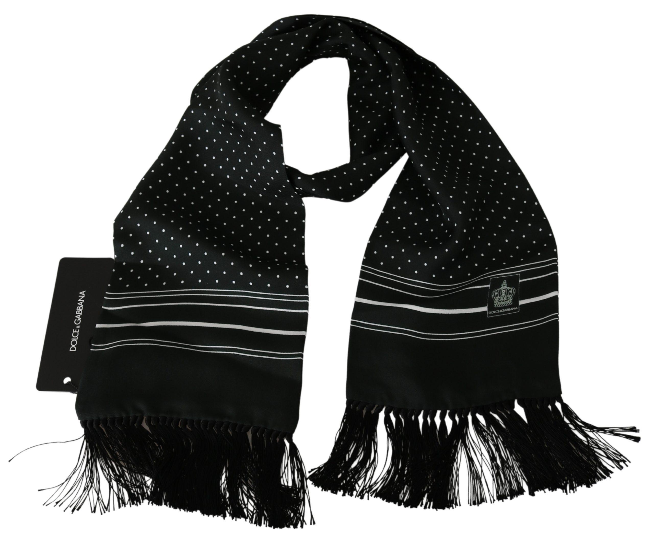 Dolce & Gabbana Men's Polka Dot Wrap Silk Scarf Green MS1745