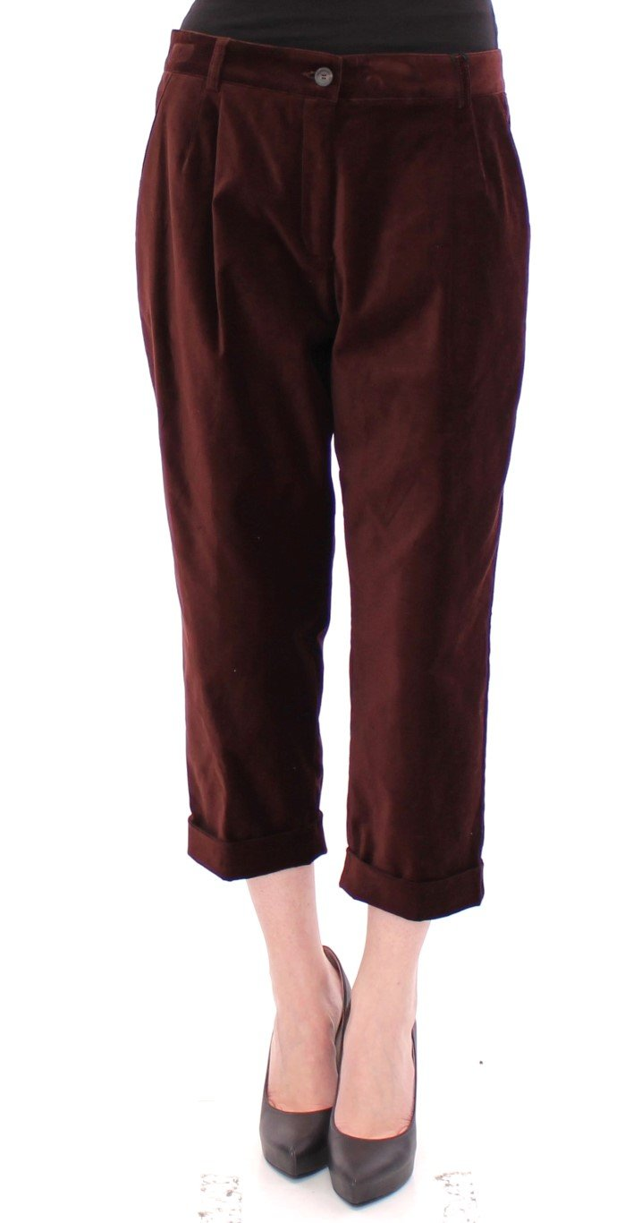 Dolce & Gabbana Women's Cotton Cropped Chinos Jeans Trouser Brown GSS10069 - IT42|M