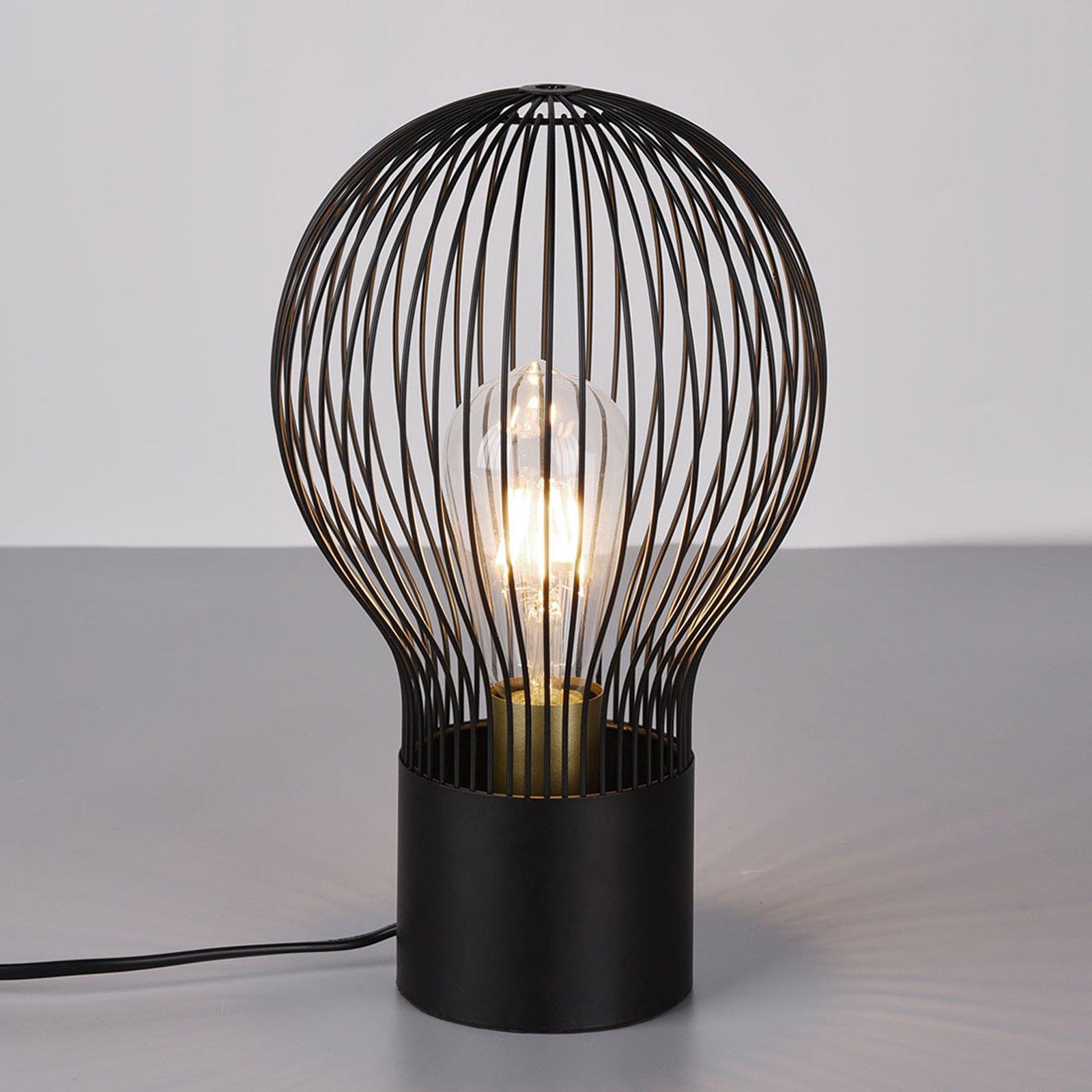 Bordlampe Dave med svart gitterskjerm