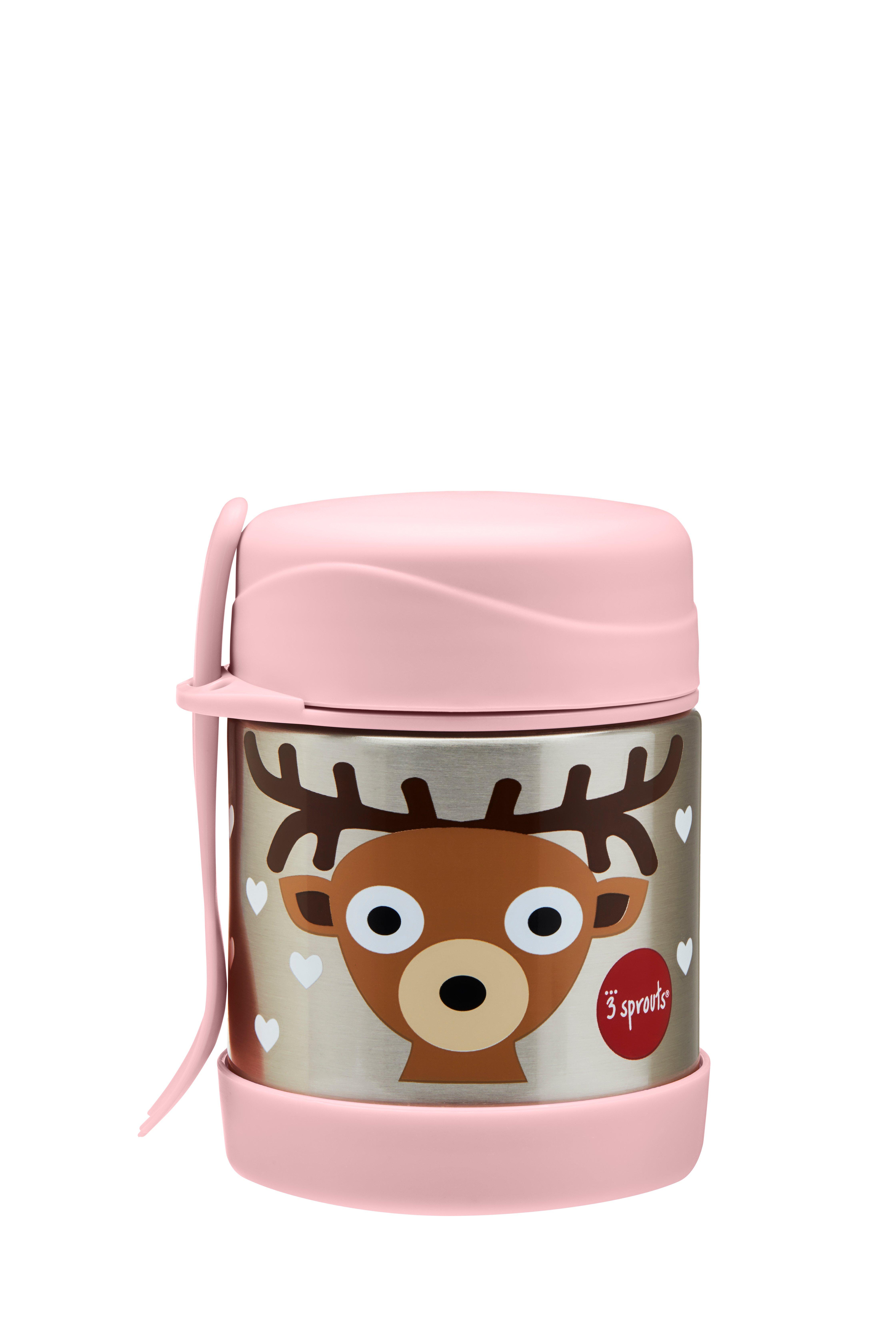 3 Sprouts - Stainless Steel Food Jar and Spork - Pink Deer