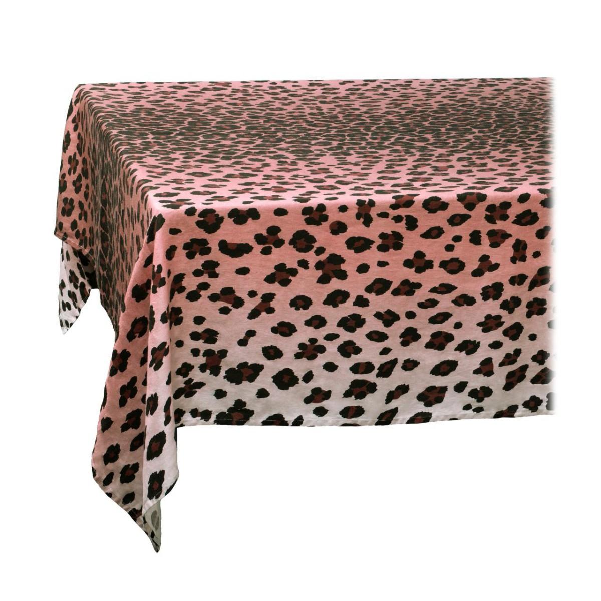 L'Objet I Linen Sateen Tablecloth I Large I Leopard - Pink