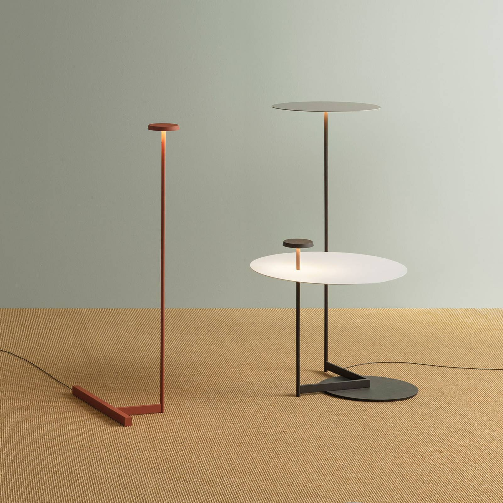 Vibia Flat -LED-lattiavalo 90 cm harmaa L1