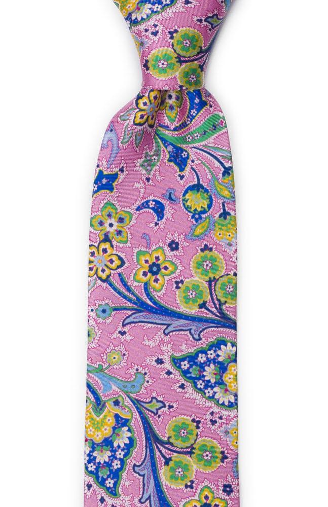 Silke Slips, Flerfargete blomster på rosa med grønn kanting, Notch VIVACE Pink