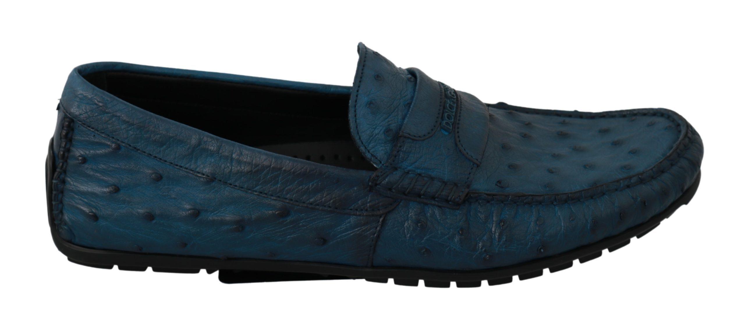 Dolce & Gabbana Men's Flat Skin Leather Loafer Blue MV2689 - EU40/US7