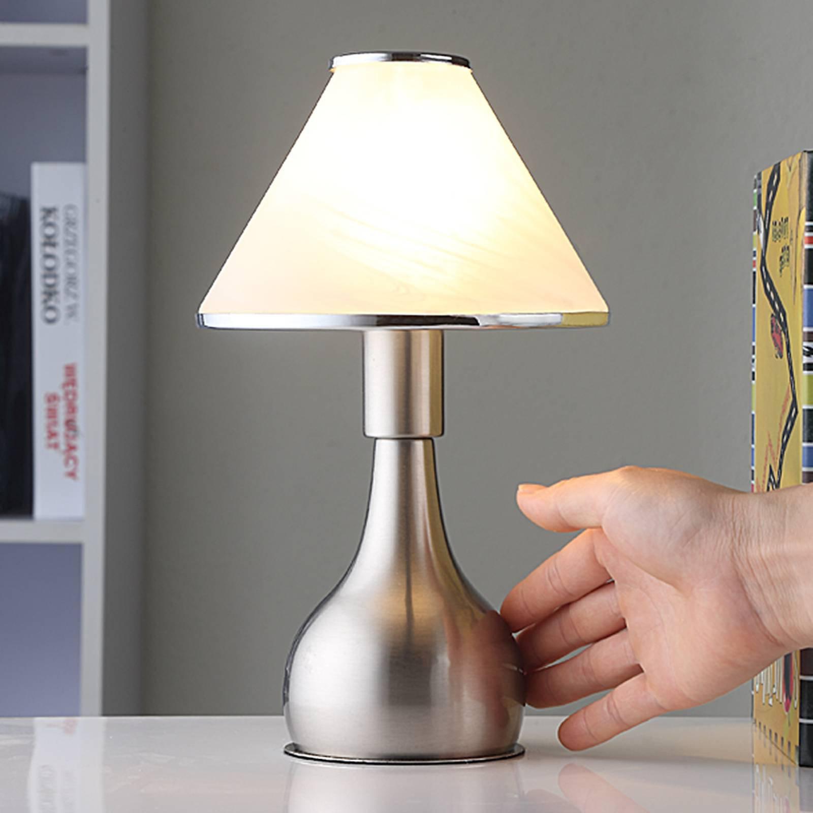 Nattbordlampe Ellen i glass og metall