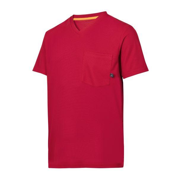 Snickers 2524 AllroundWork T-skjorte rød, v-utringet XS