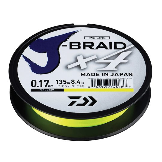 Daiwa J-Braid X4 gul 1350 m flätlina