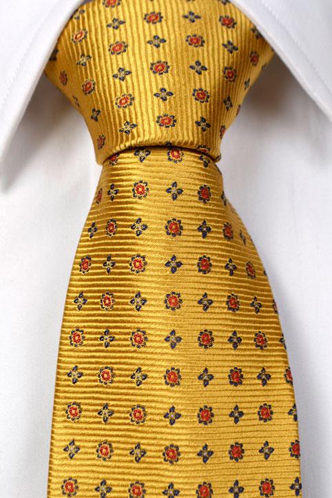 Silke Slips, Gul bunn med blomster i rødt og blått, Gull, Flower, Notch HARALD