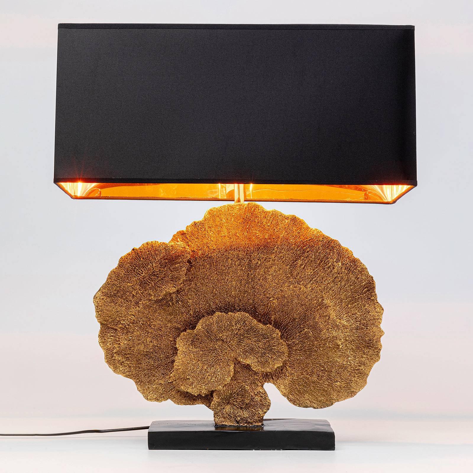 KARE Coral Gold bordlampe med tekstilskjerm