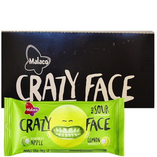 Malaco Crazy Face Sour 24kpl - 82% alennus