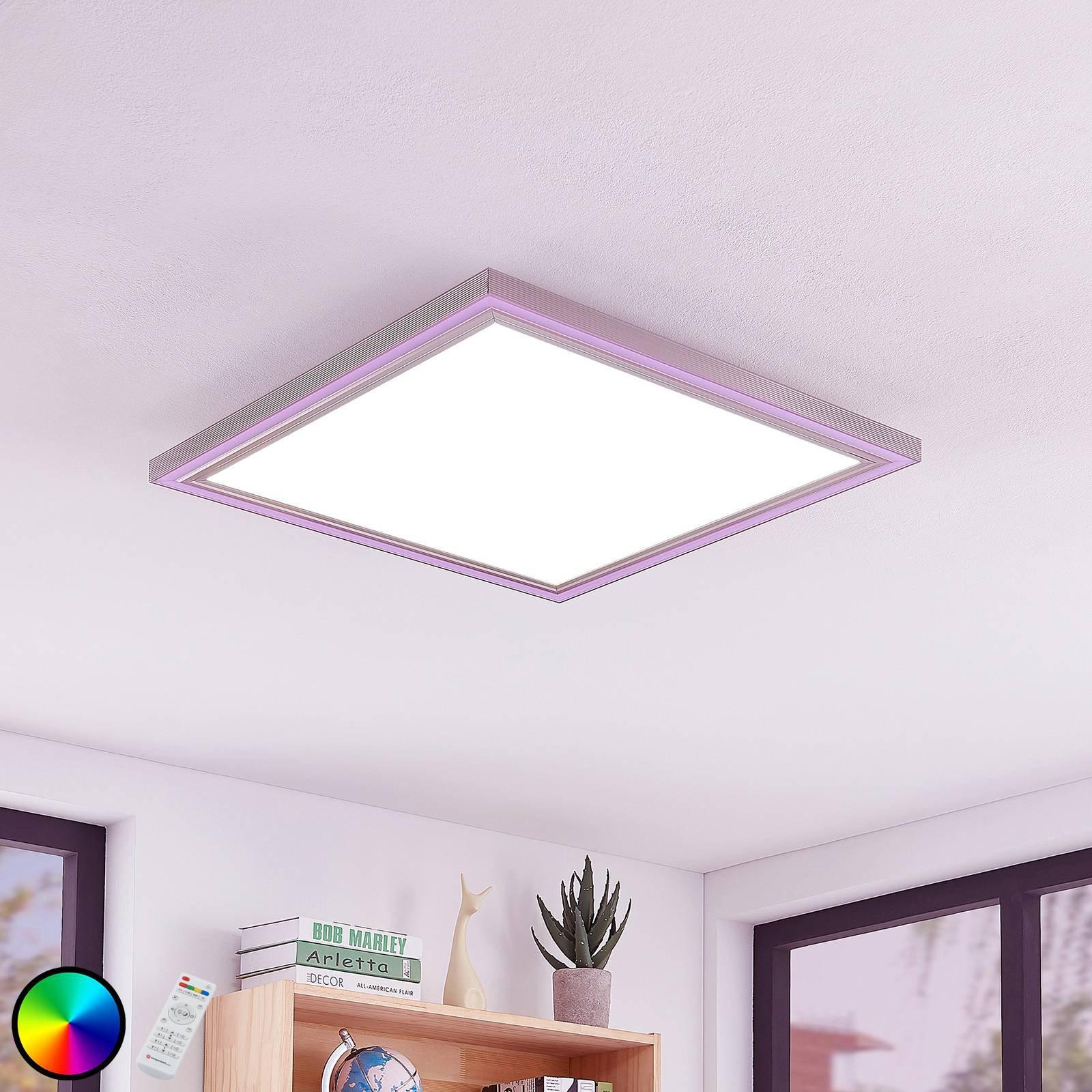 LED-taklampe Lynn, CCT+RGB, kantet, 60 x 60 cm
