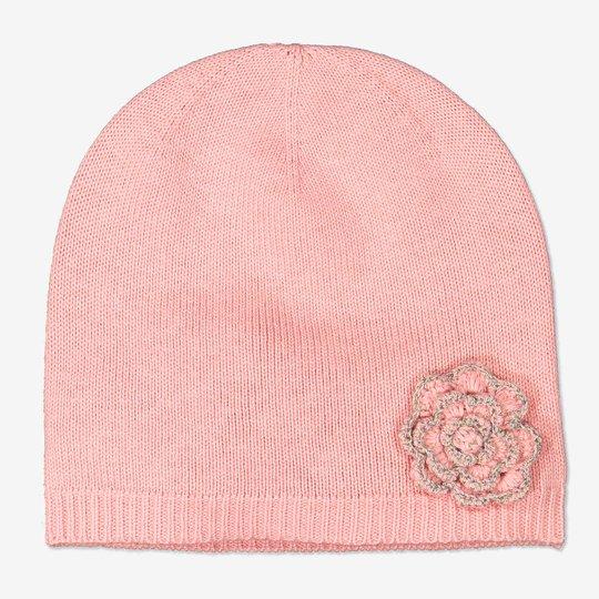 Finstrikket lue med blomsterrefleks rosa