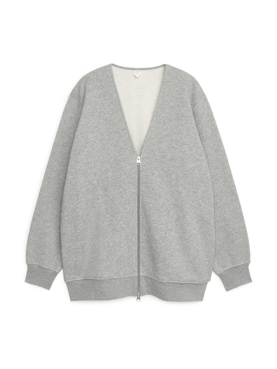 Sweatshirt Zip Cardigan - Grey