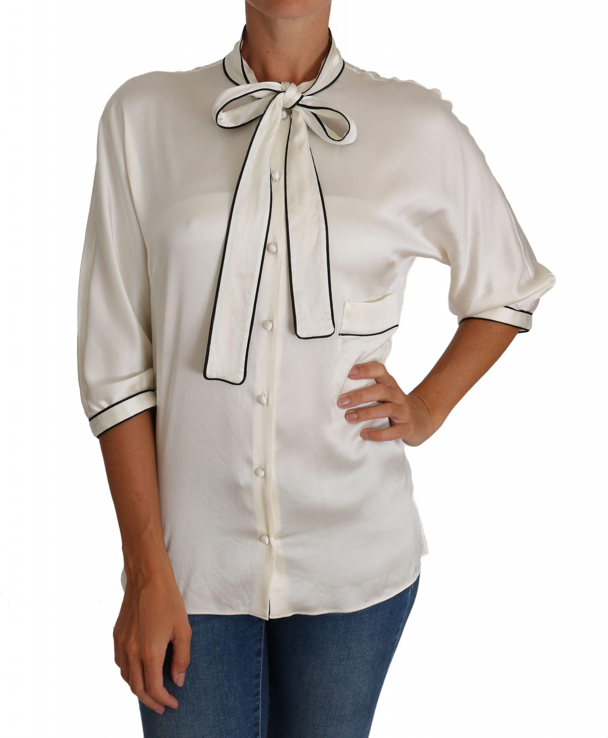 Dolce & Gabbana Women's Silk Pussy Bow Shirts White TSH2494 - IT42|M