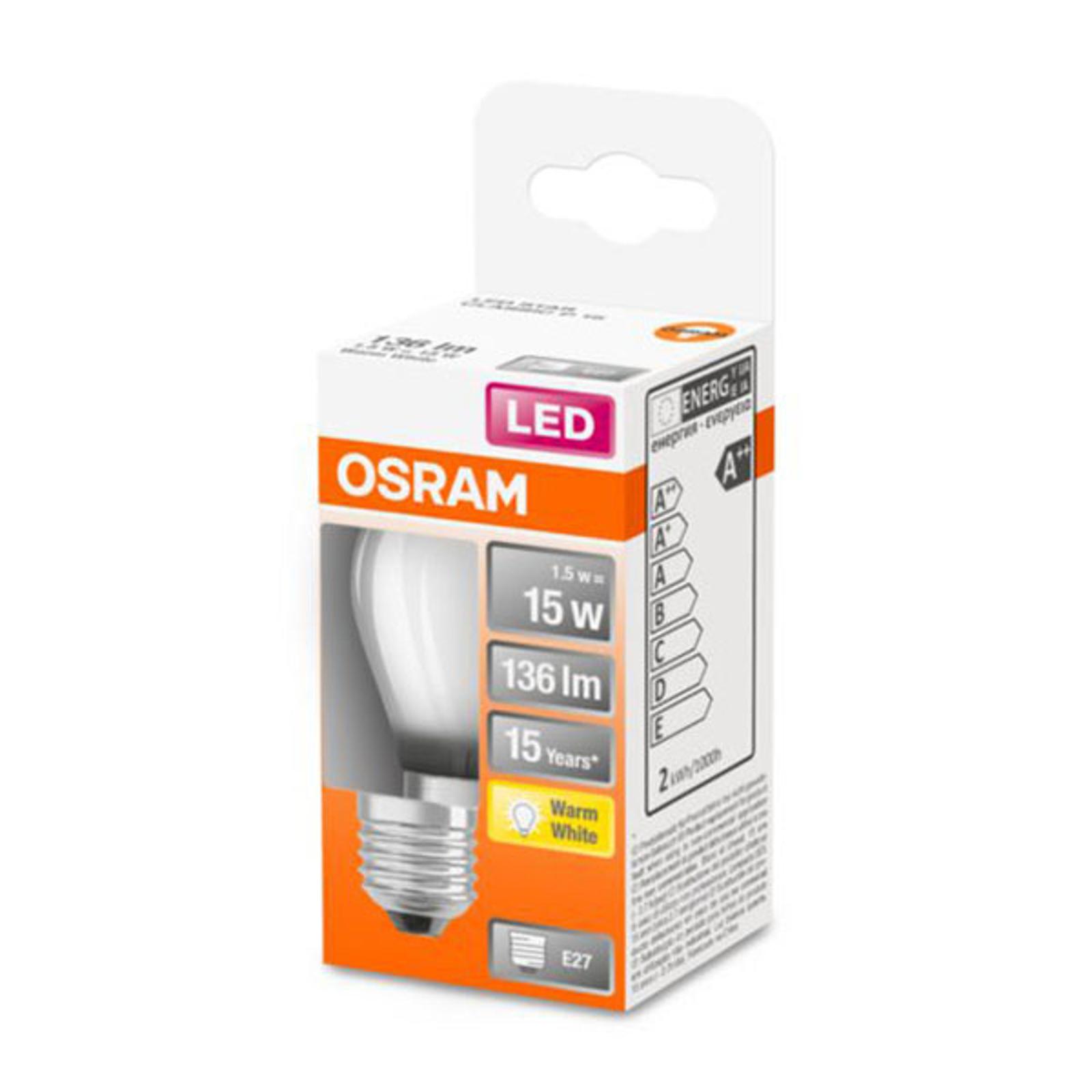 OSRAM Classic P -LED-lamppu E27 1,5W 2 700 K matta