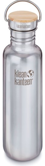 Klean Kanteen Reflect Baboo Cap Vannflaske med Bambuslokk 800ml, Mirrored Stainless