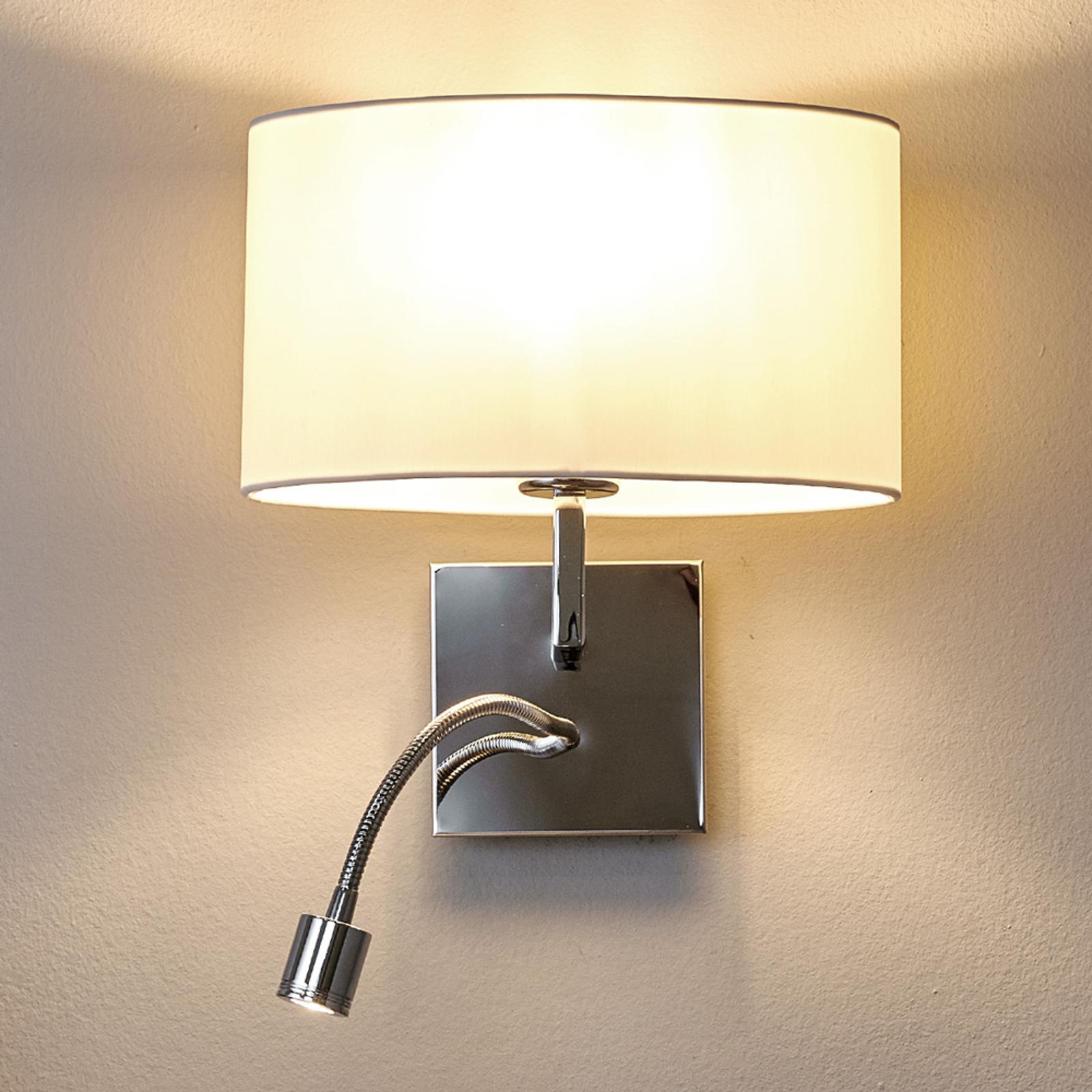 Valkoinen seinävalaisin Karla LED-lukuvalolla