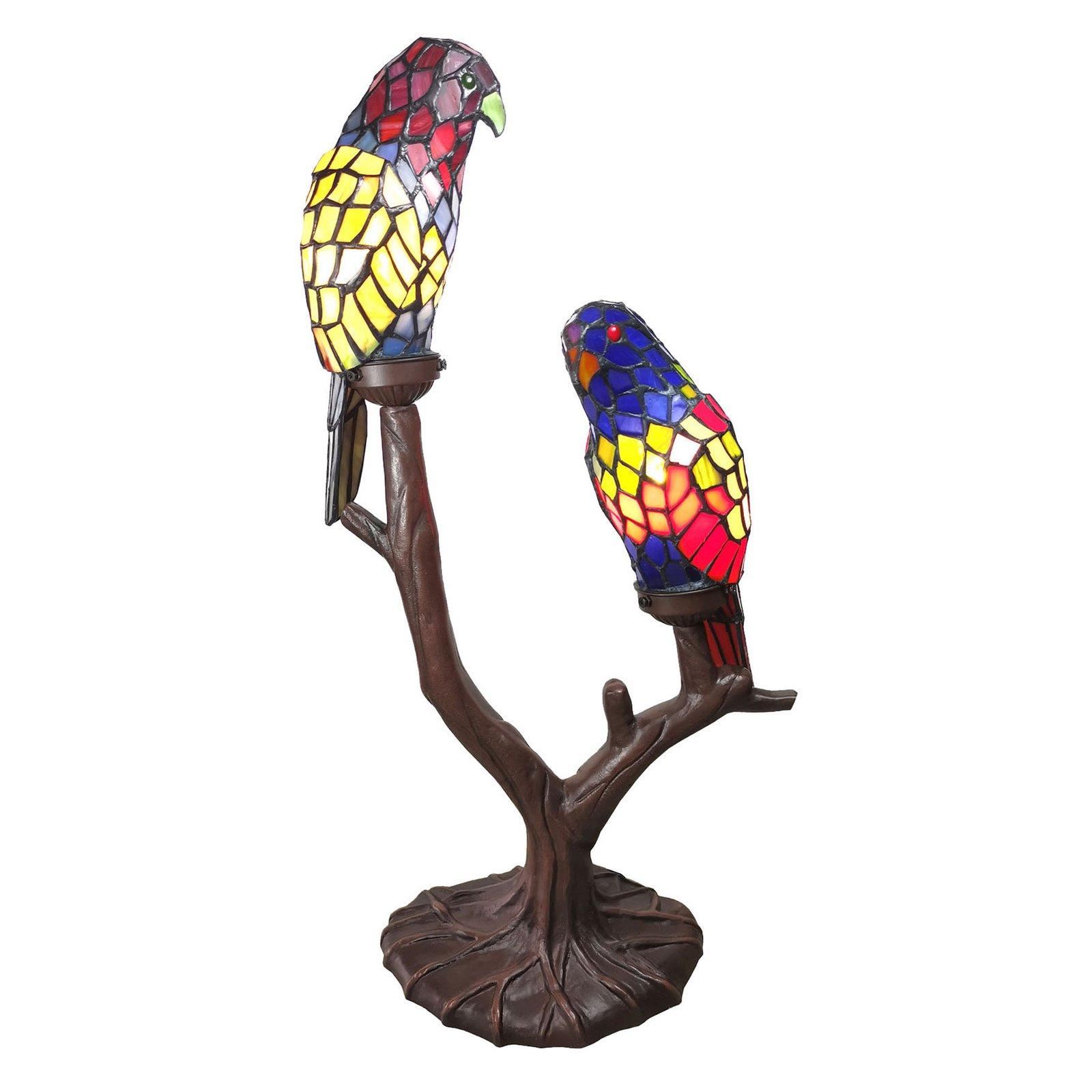 6017 bordlampe, to papegøyer, Tiffany-design