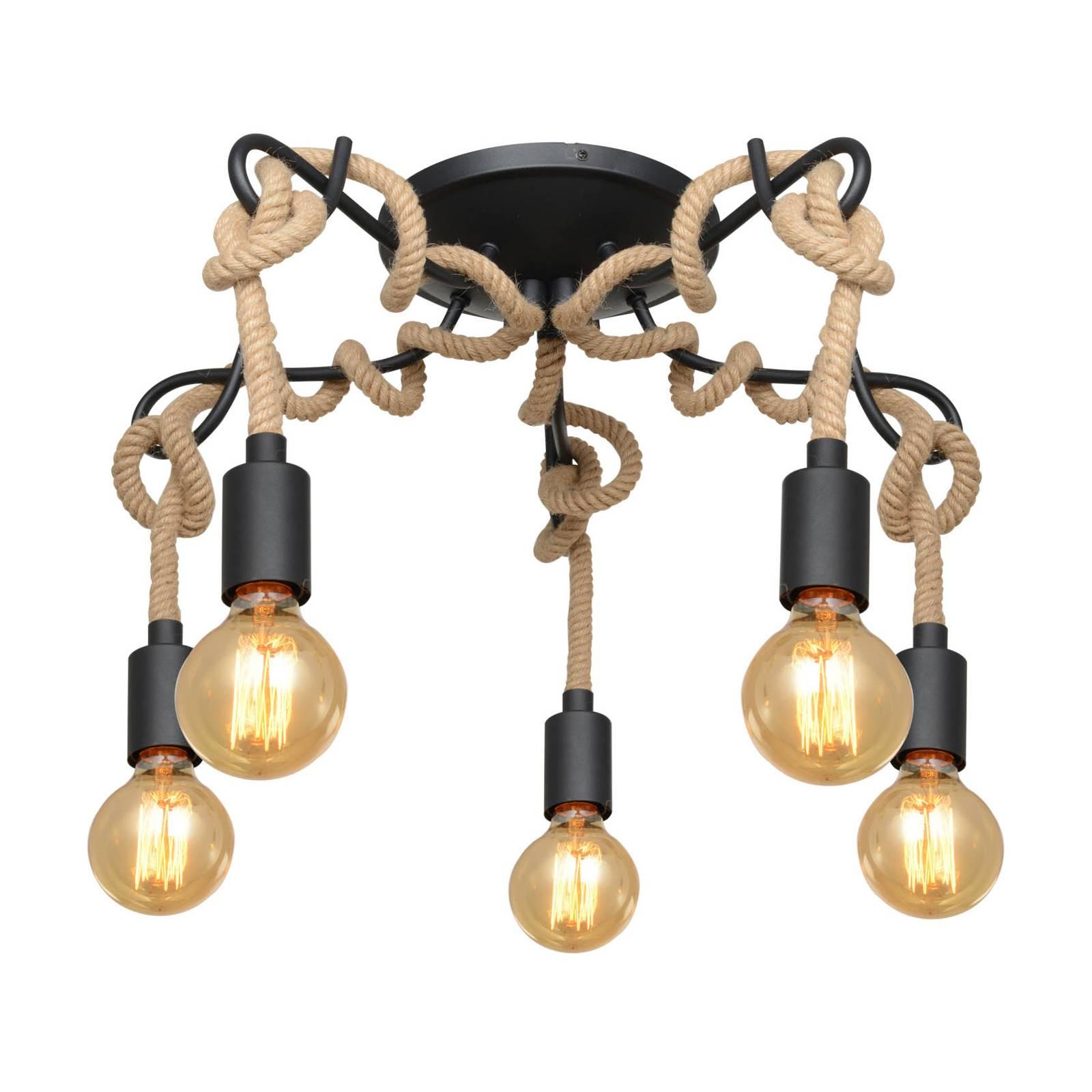 Lucande Ropina -kattovalaisin, 5-lamppuinen
