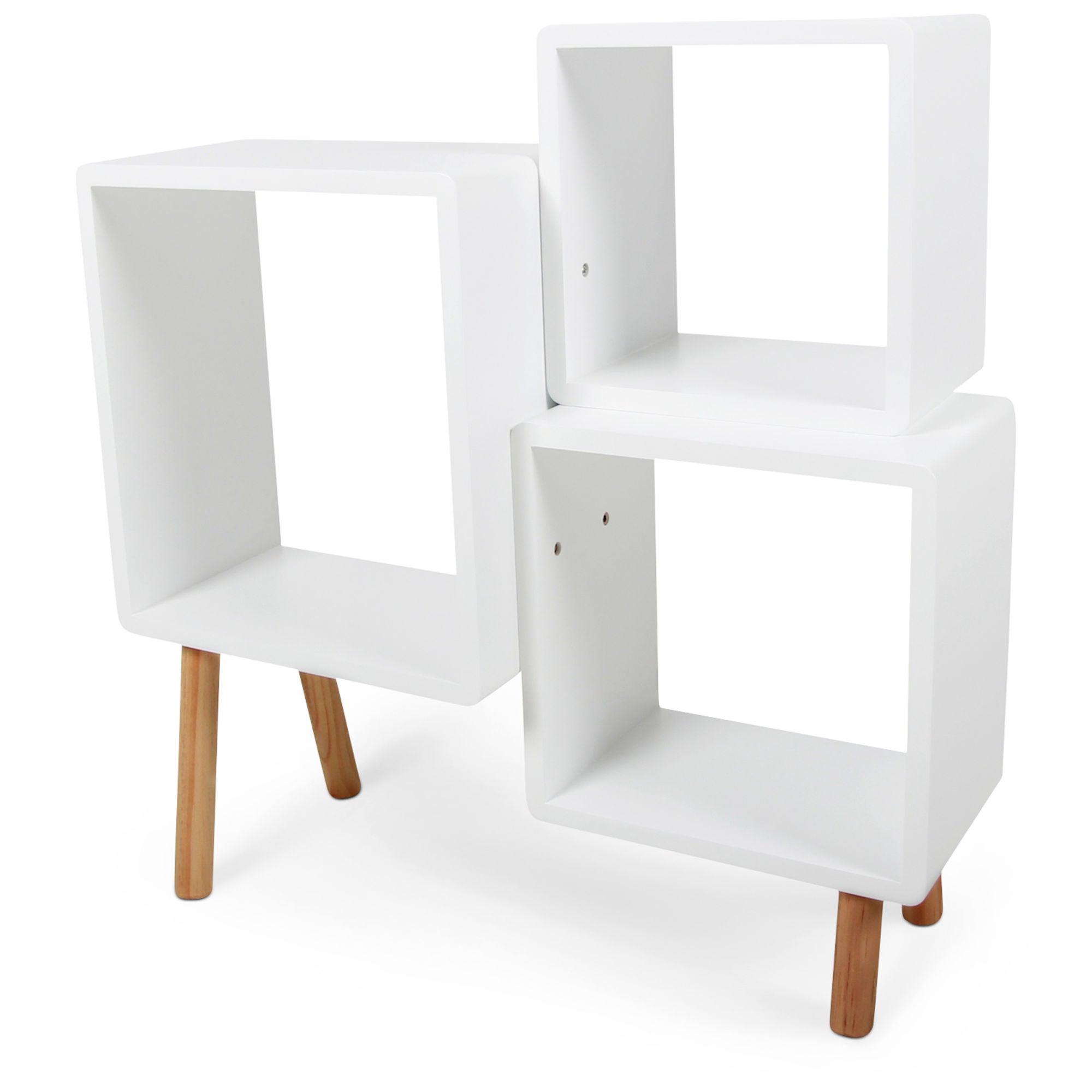 Alice & Fox Kirjahylly Cube, Valkoinen/Puunvärinen