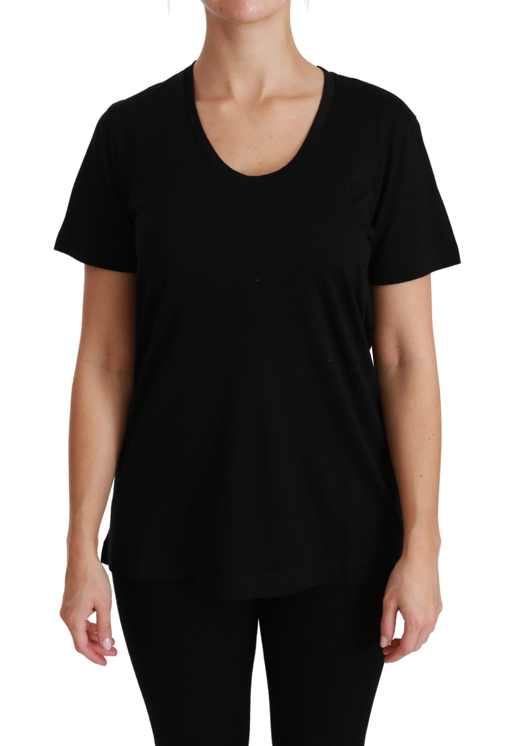 Black U-neck Short Sleeve Top Wool T-shirt - IT46|XL