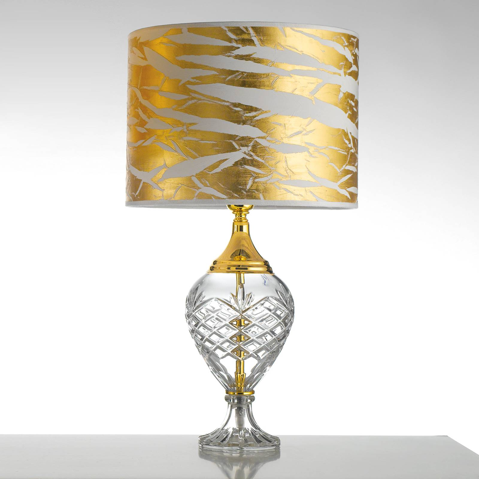 Kullanvärinen pöytälamppu Belle Epoque, lasijalka