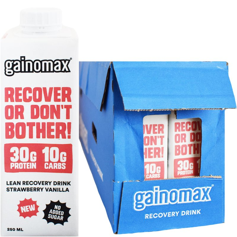 "Hel Låda Proteindryck ""Recovery Strawberry & Vanilla"" 16 x 250ml - 27% rabatt"