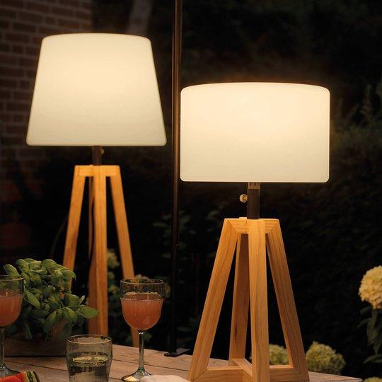895191 LED-solcelle-gulvlampe med pinjetreramme