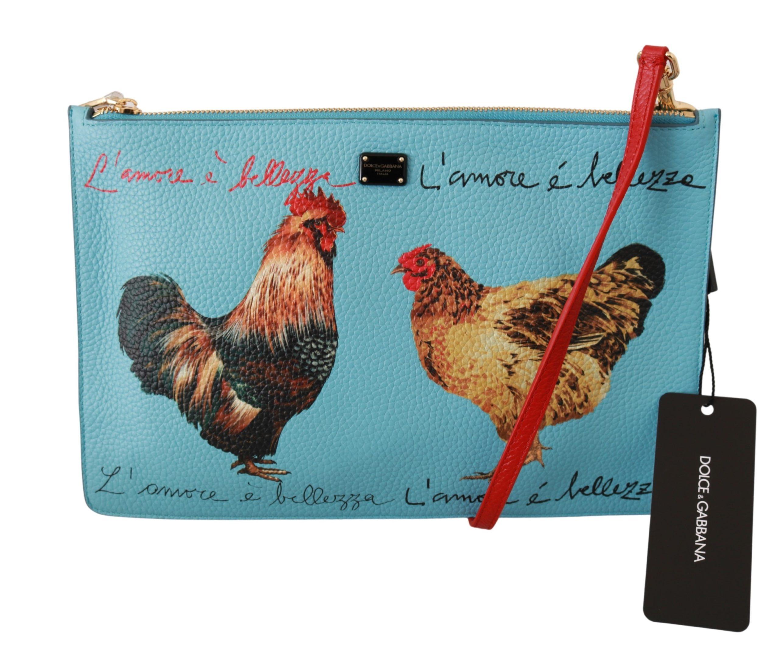 Dolce & Gabbana Women's Roosters Print Leather Crossbody Bag Blue VAS9236