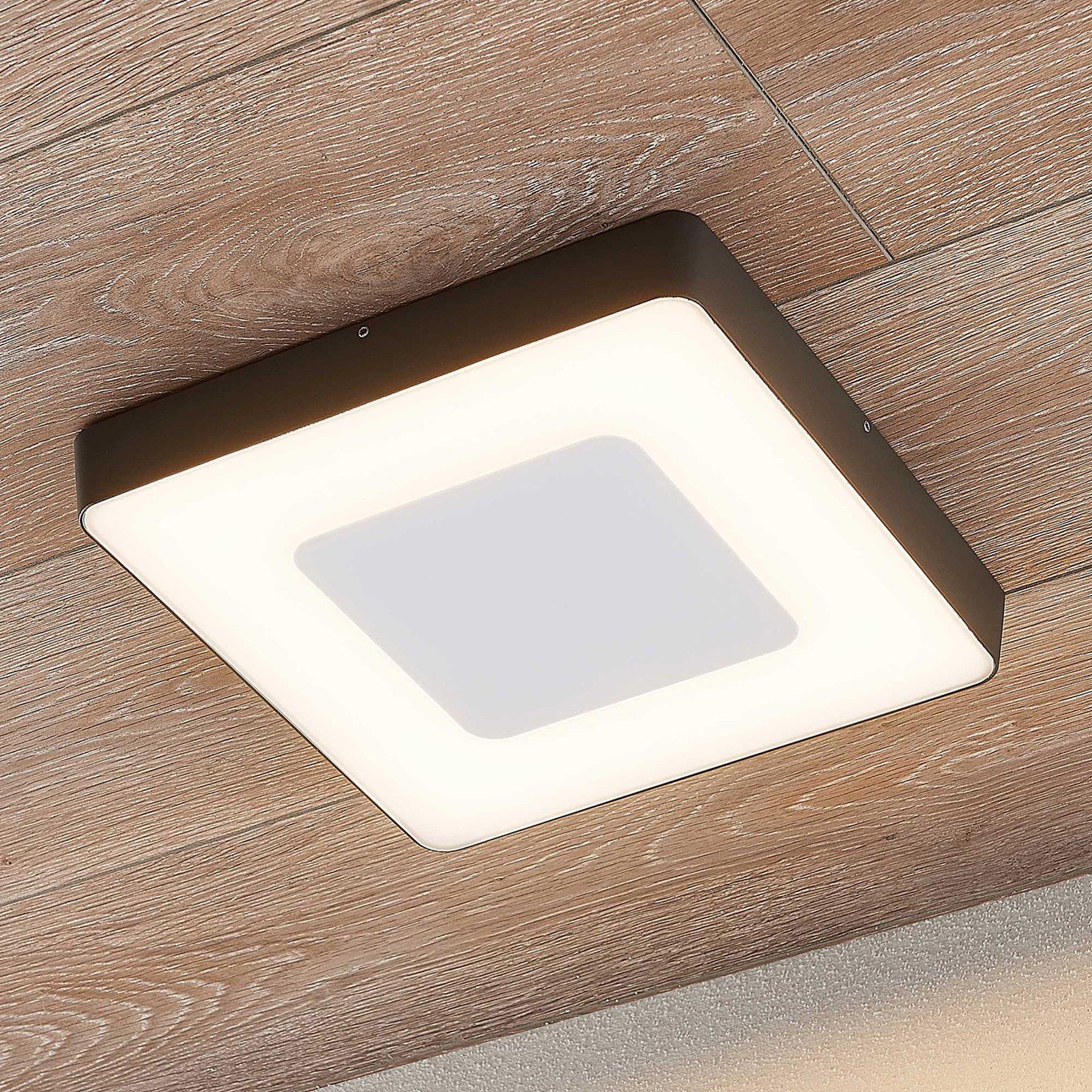 LED utendørs taklampe Sora, kantet, sensor