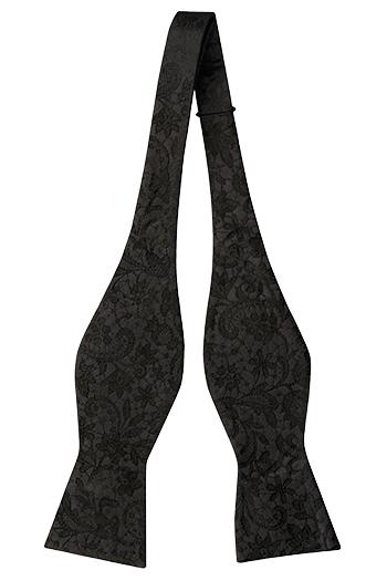 Silke Sløyfer Uknyttede, Ensfarget sort med broderte blomster ton-i-ton