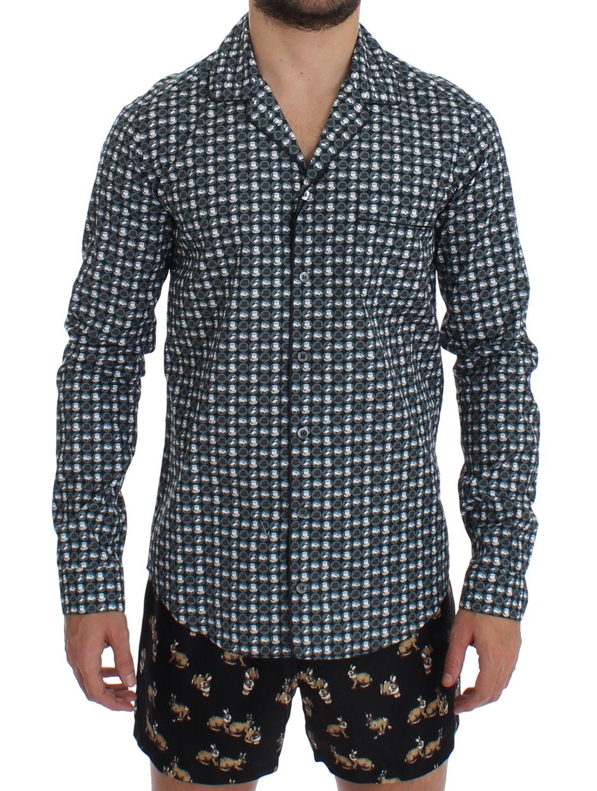 Dolce & Gabbana Men's Hat Print Cotton Pajama Shirt SIG12381 - XS