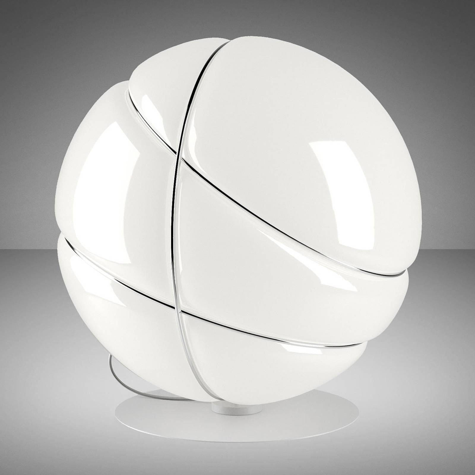 Fabbian Armilla -pöytälamppu, valkoinen, kromi