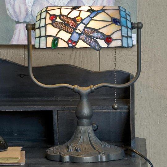 Banklampe Dragonfly i Tiffany-stil