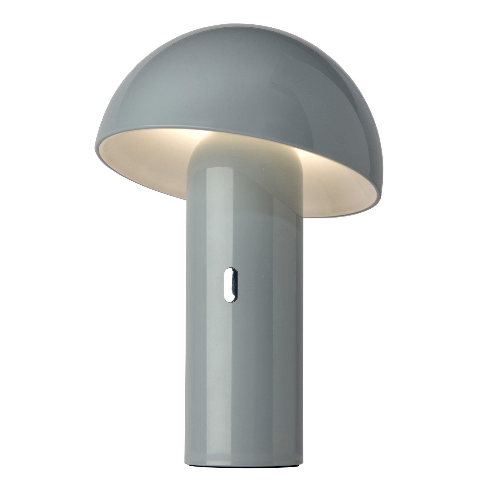 LED-bordlampe Svamp med batteri, dreibar, grå