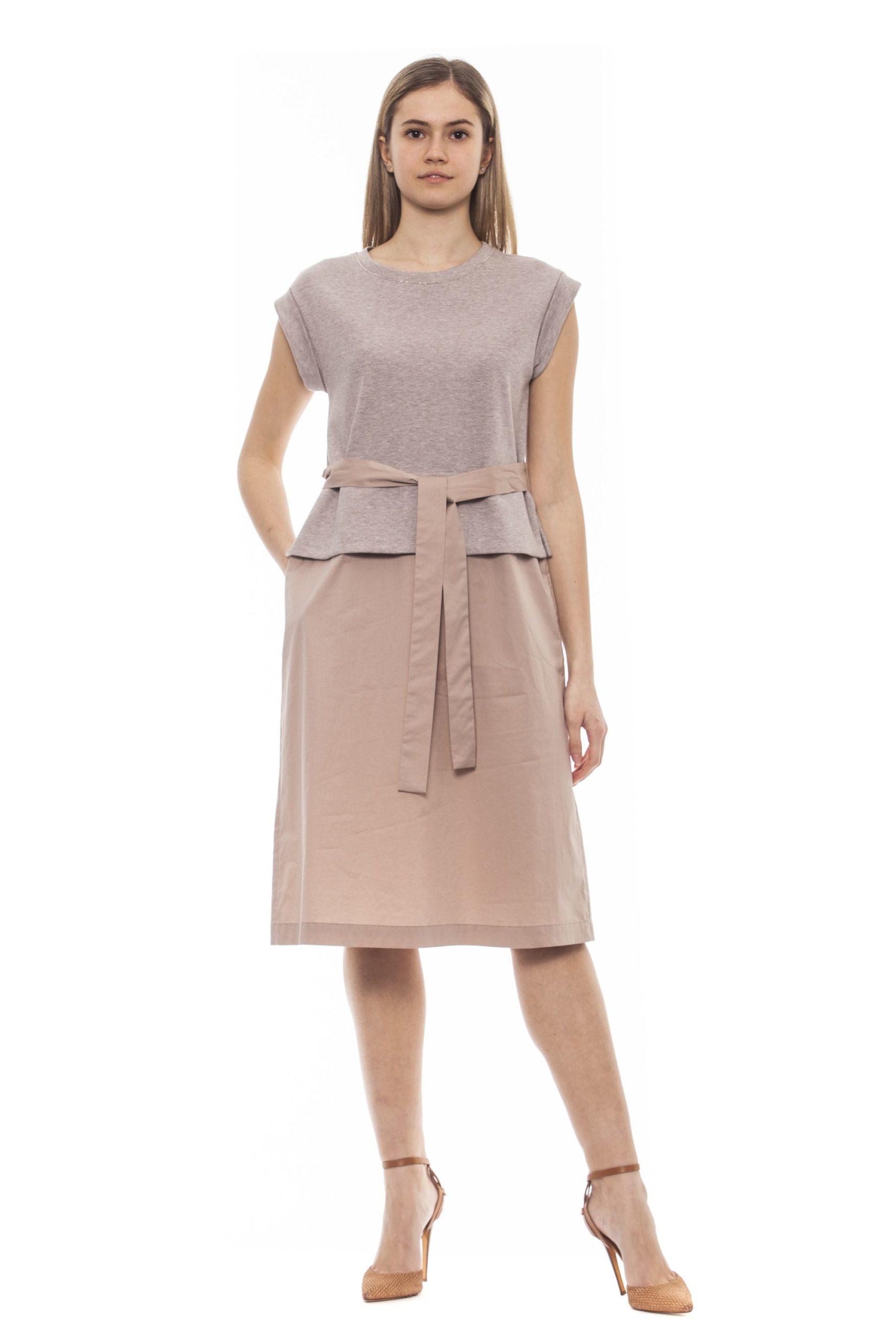 Peserico Women's Bianco Dress Beige PE1383220 - IT42   S