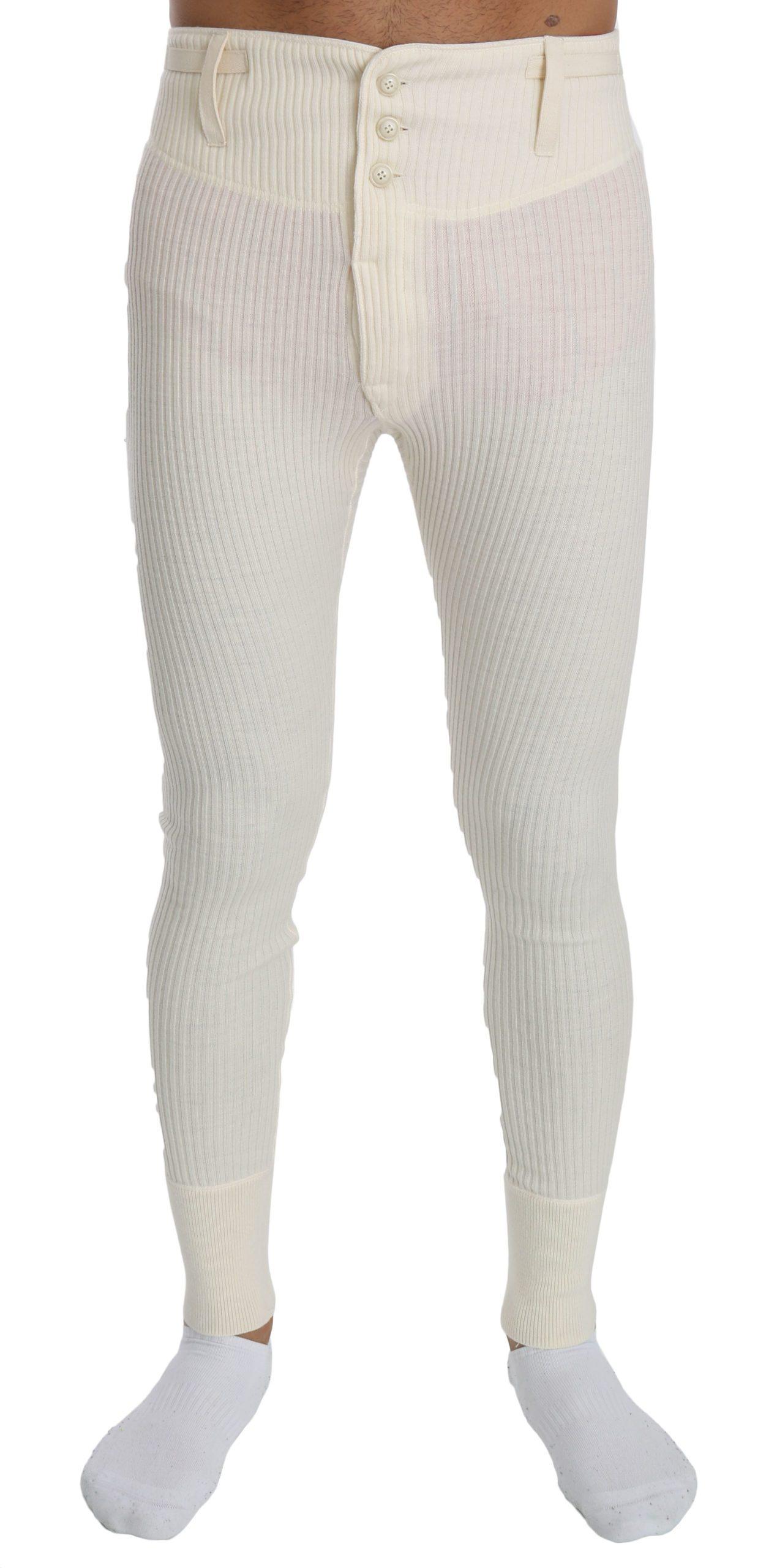 Dolce & Gabbana Men's Wool Sweatpants Trouser White PAN70752 - L