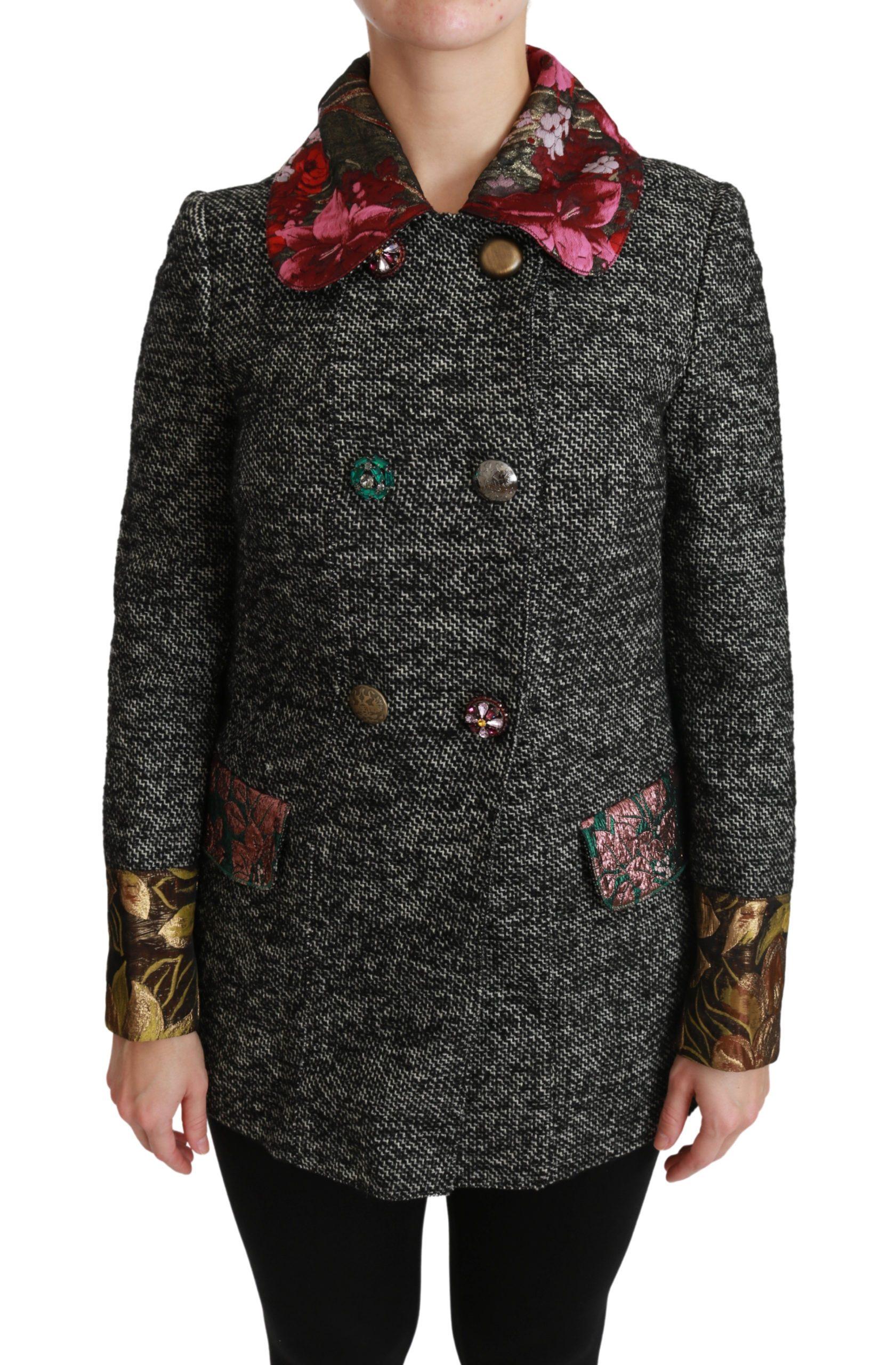 Dolce & Gabbana Women's Crystal Double Breasted Coat Gray JKT2522 - IT38|XS