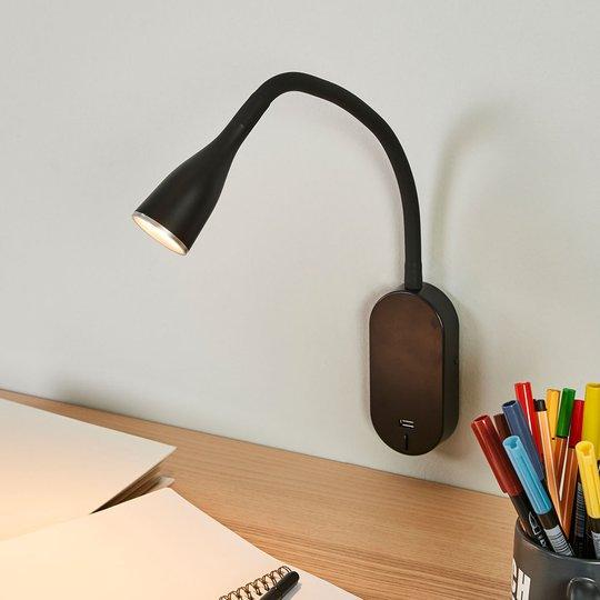 Säädettävä Enna-seinävalaisin LED, USB-portti